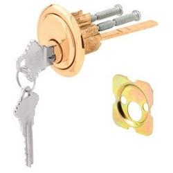 "Door Lock, Rim Cylinder, 5-Pin Tumbler, Schlage Keyway, 3/4"" Hole Center to Center, Die-Cast Zinc Housing, Brass Plated, With (1) Trim Ring, (2) Key, (2) Screw"