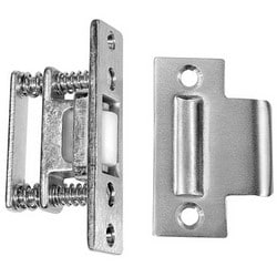 "Door Roller Latch, 1-1/8"" x 2-3/4"" Strike, 1"" x 3-3/8"" Latch Face, Cast Brass, Satin Chrome"