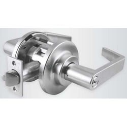 """Cylinder Lockset, Fail Safe, Heavy Duty, Request-To-Exit, Conventional Cylinder, Lever, 3-1/2"""" Diameter Stepped Rose, 24 Volt DC, Satin Chrome"""