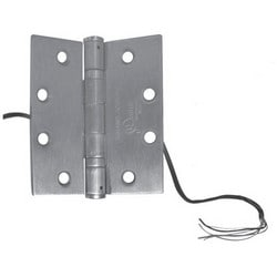 """Transformer Electric Hinge, 5-Knuckle, Ball Bearing, 4 Ampere at 24 Volt, 1 Ampere at 24 Volt, 4-1/2"""" Width x 4"""" Height, Steel, Brushed Stainless Steel, With 6-Conductor"""
