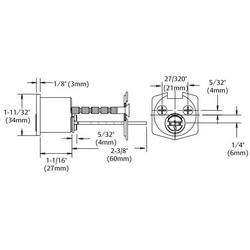 Rim Lock Cylinder, Solid Brass, RB Keyway, Satin Stainless Steel