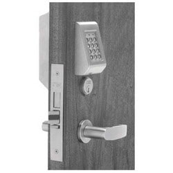 Access Control Keypad Lock, Right Hand, Cylinder Override and Deadbolt, LN-Rose, L-Lever, Satin Chrome