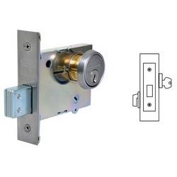"Door Deadbolt, Single Cylinder, Key Outside and Thumbturn Inside Retracts, Turn Lever, 2-3/4"" Backset, Satin Chrome, Without Cylinder"