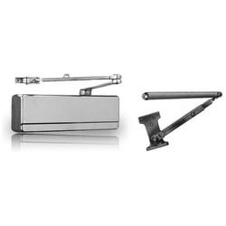 Door Closer, Heavy Duty, Non-Handed, Friction Hold Open Arm, Cast Iron, Powder Coated Aluminum