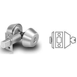 """Door Deadbolt, Cylinder Outside and Thumbturn Inside, LA Keyway, 2-3/4"""" Backset, Satin Chrome"""
