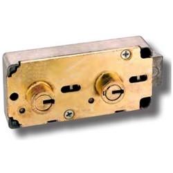 "Safe Deposit Lock, Right/Left Hand, Centerline, 0.672"" Renter Nose Diameter, 1/2"" Nose Height, Without Guard Key"