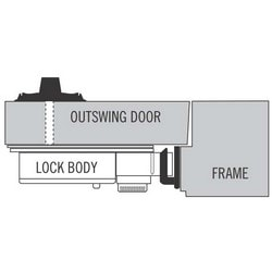 Door Deadbolt Strike, #2, For Extension 50 Mechanical Automatic Door Deadbolt