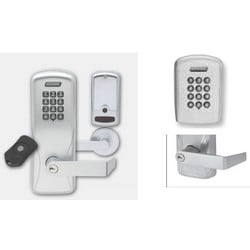 Electronic Door Lock, Cylindrical Chassis, Keypad, Right Hand Reverse, Rhodes Lever, Satin Chrome, Without 6-Pin Cylinder, For Class/Storeroom