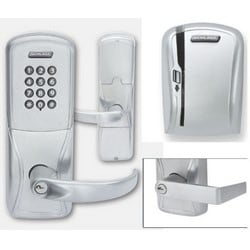 Electronic Door Lock, Mortise Chassis, Magnetic Stripe, Keypad, Right Hand, Rhodes Lever, Satin Chrome, Without 7-Pin SFIC Cylinder, For Class/Storeroom