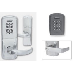 Electronic Door Lock, Cylindrical Chassis, Multi-Technology, Keypad, Right Hand, Rhodes Lever, C Keyway, Satin Chrome, With 6-Pin Cylinder, For Class/Storeroom