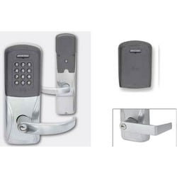 Electronic Door Lock, Rim/CVC/CVR Exit Trim Chassis, Multi-Technology, Left Hand Reverse, Rhodes Lever, Bright Chrome, Without 6-Pin Cylinder, For Class/Storeroom