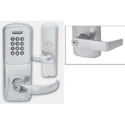 Electronic Door Lock, Cylindrical Chassis, Right Hand, Rhodes Lever, Satin Chrome, Without Reader, 7-Pin SFIC Cylinder, For Class/Storeroom