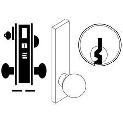 "Door Mortise Lock, Keyed, E Keyway, 2-3/4"" Depth Lever, 2-3/4"" Backset, Satin Chrome, With 6-Pin Cylinder, A Rose Trim/Deadbolt, For Entrance/Office"