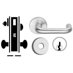 "Door Mortise Lock, Keyed, C Keyway, 2-13/16"" Depth Lever, 2-3/4"" Backset, Satin Chrome, With 6-Pin Cylinder, B Rose Trim/Deadbolt, For Corridor"