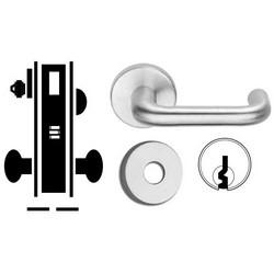 "Door Mortise Lock, Keyed, E Keyway, 2-13/16"" Depth Lever, 2-3/4"" Backset, Bright Brass, With 6-Pin Cylinder, B Rose Trim/Deadbolt, For Corridor"