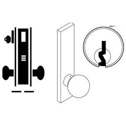 "Door Mortise Lock, Keyed, C Keyway, 2-3/4"" Depth Lever, 2-3/4"" Backset, Satin Chrome, With 6-Pin Cylinder, A Rose Trim/Deadbolt, For Closet/Storeroom"
