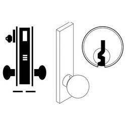"Door Mortise Lock, Keyed, E Keyway, 2-3/4"" Depth Lever, 2-3/4"" Backset, Satin Chrome, With 6-Pin Cylinder, A Rose Trim/Deadbolt, For Closet/Storeroom"
