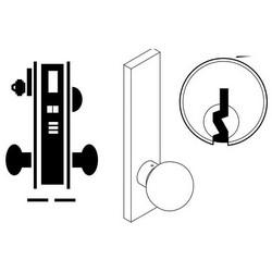 "Door Mortise Lock, Keyed, C Keyway, 2-3/4"" Depth Lever, 2-3/4"" Backset, Satin Chrome, With 6-Pin Cylinder, A Rose Trim/Deadbolt, For Storeroom"
