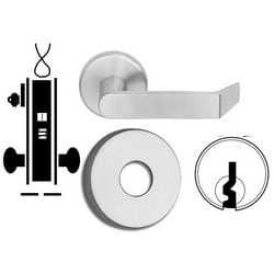 """Door Mortise Lock, Keyed, Electrically Unlocking, E Keyway, 12/24 Volt DC, 2-1/2"""" Depth Lever, Request-To-Exit, Satin Chrome, With Cylinder, B Rose Trim, For Storeroom"""