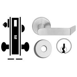 "Door Mortise Lock, Keyed, C Keyway, 2-1/2"" Depth Lever, 2-3/4"" Backset, Satin Chrome, With 6-Pin Cylinder, B Rose Trim/Deadbolt, For Corridor"