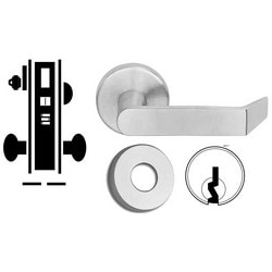 "Door Mortise Lock, Keyed, C Keyway, 2-1/2"" Depth Lever, 2-3/4"" Backset, Bright Brass, With 6-Pin Cylinder, A Rose Trim/Deadbolt, For Entrance/Office"