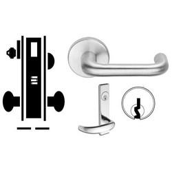 "Door Mortise Lock, Keyed, C Keyway, 2-13/16"" Depth Lever, 2-3/4"" Backset, Satin Chrome, With 6-Pin Cylinder, L Escutcheon/Deadbolt, For Corridor"