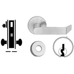 "Door Mortise Lock, Keyed, C Keyway, 2-1/2"" Depth Lever, 2-3/4"" Backset, Satin Chrome, With 6-Pin Cylinder, A Rose Trim/Deadbolt, For Closet/Storeroom"