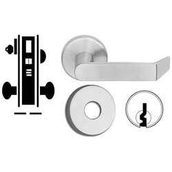 "Door Mortise Lock, Keyed, E Keyway, 2-1/2"" Depth Lever, 2-3/4"" Backset, Satin Chrome, With 6-Pin Cylinder, B Rose Trim/Deadbolt, For Entrance/Office"