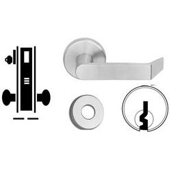 "Door Mortise Lock, Keyed, E Keyway, 2-1/2"" Depth Lever, 2-3/4"" Backset, Satin Chrome, With 6-Pin Cylinder, A Rose Trim/Deadbolt, For Closet/Storeroom"