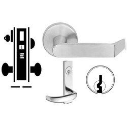"""Door Mortise Lock, Keyed, E Keyway, 2-1/2"""" Depth Lever, 2-3/4"""" Backset, Oil Rubbed Bronze, With 6-Pin Cylinder, L Escutcheon/Deadbolt, For Entrance/Office"""