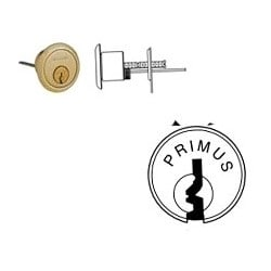 """Door Lock Cylinder, Primus, 1374-EP Keyway, 1-1/8"""" Length, Satin Chrome, With 3/8"""" Blocking Ring, Without Key"""
