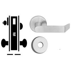 "Door Mortise Lock, Keyed, 2-1/2"" Depth Lever, 2-3/4"" Backset, Satin Chrome, With B Rose Trim/Deadbolt, Without Full Face Cylinder, For Corridor"
