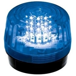 "Strobe Light, 1-Flash Pattern, 12-LED, 2-Wire, 6 to 12 Volt DC, 200 Milliampere, 2-29/32"" Diameter x 3-15/16"" Height, IP66, Blue Lens, Without Battery Backup"