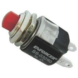 """Pushbutton, Momentary, NO Switch, SPST, 12 Volt DC, 1 Ampere, Red, For 1/2"""" Hole"""
