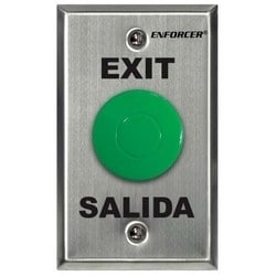 Back Box Push to Exit Plate, 1-Gang, Silk-Screened, 1NO-1NC, 3 Ampere at 24 Volt DC Contact Rating, Stainless Steel, With Green Mushroom Cap Pushbutton, EXIT and SALIDA Legend