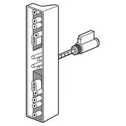 """Sliding Door Pull and Keyed Locking Unit, 1"""" Width, Gray, With Outside Pull, Lock Cylinder, Installation Fastener"""