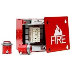 "Fire Alarm Box, Fire Symbol and 1"" Lettering on Red Plate, 4"" Length x 4"" Width x 2-3/4"" Height, 16 Gauge Galvanized Steel"