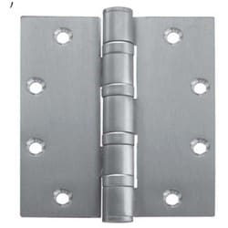 "Ball Bearing Hinge, Heavy Weight, Full Mortise, 5-Knuckle, 4-1/2"" Length x 4-1/2"" Width x 0.18"" Thickness, Steel, Satin Chrome, With Non-Removable Pin"