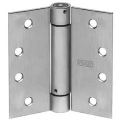 "Spring Hinge, Square Corner, Full Mortise, Standard Weight, 4-1/2"" Length x 4-1/2"" Width x 0.134"" Thickness, Steel, Satin Chrome"
