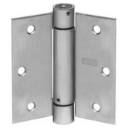 """Spring Hinge, Square Corner, Full Mortise, Standard Weight, 3-1/2"""" Length x 3-1/2"""" Width x 0.099"""" Thickness, Steel, Clear Coated Bright Brass"""