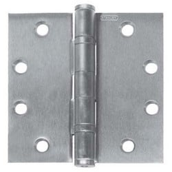 "Ball Bearing Hinge, Standard Weight, Full Mortise, 5-Knuckle, 5"" Length x 4-1/2"" Width x 0.146"" Thickness, Steel, Satin Chrome"