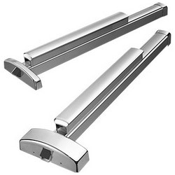 "Exit Device, Rim, Right Hand Reverse Bevel, 36"" Length Rail, Satin Stainless Steel, With Key Retracts Latchbolt A Grip Trim"