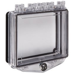 """Lockable Enclosure, Multi-Purpose, Exterior Key Lock, Open Back Box, 7.7"""" Width x 2.2"""" Depth x 5.71"""" Height, Polycarbonate, Includes Mounting Hardware and Gasket"""