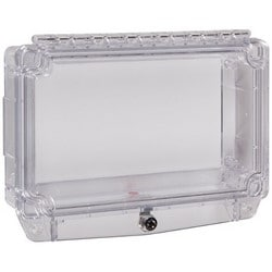 """Polycarbonate Protective Cover with Open Spacer and Key Lock, 121mm (4.75"""") H x 210mm (8.25"""") W x 50mm (1.975"""") D"""