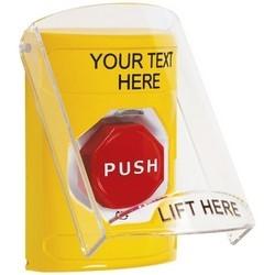 Pushbutton Switch, Multi-Purpose, Flush/Surface Cover, Shield, Turn-To-Reset (Illuminated) Switch Configuration, Custom Text Legend, English Language, Yellow