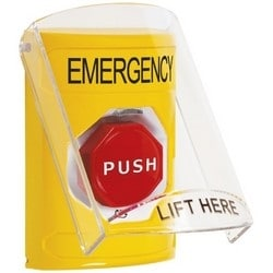 Pushbutton Switch, Multi-Purpose, Flush/Surface Cover, Shield, Turn-To-Reset (Illuminated) Switch Configuration, Emergency Legend, English Language, Yellow