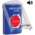 Pushbutton Switch, Multi-Purpose, Flush/Surface Cover, Shield with Sound, Key-To-Reset (Illuminated) Switch Configuration, Emergency Exit Legend, English Language, Blue
