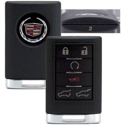 Key Remote, Fob, 6-Button, #2, 315 Megahertz, OBP-17 Programming, For Cadillac 2007 to 2014 Year Model