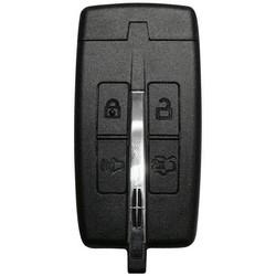 Keyfob and Emergency Key, 4-Button, PEPS, 315 Megahertz, 0001X-1706X Key Code, OBP-15 Programming, Transponder, For Lincoln 2009 to 2012 Year Model