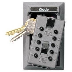 "Keysafe, Permanent, 5-Key, Pushbutton, 2.53"" Width x 2.22"" Depth x 4.13"" Height, Titanium"